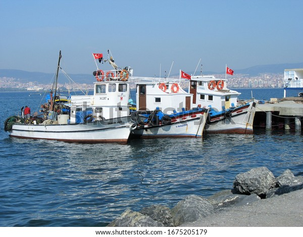 fishing ships in port in Istanbul,October 2011