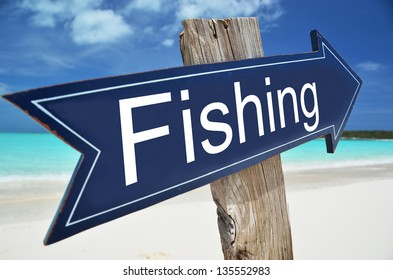 FISHING  sign on the beach