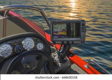 Fishing sonar (echolot) at the boat