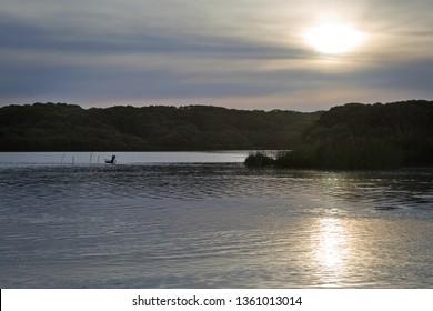 Fishing spot at a lake near Horsham in rural western Victoria, Australia.