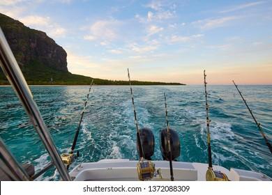 Fishing at sunrise, Le Morne Brabant, Mauritius, Indian ocean