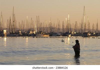 Fishing at sunset Santa Barbara, California, USA