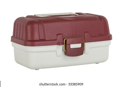 fishing tackle box at an angle isolated on a white background