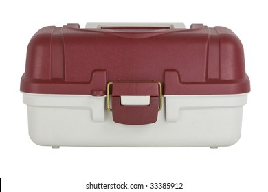 fishing tackle box isolated on a white background
