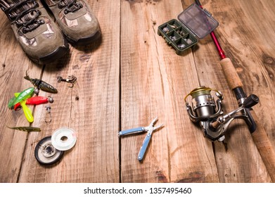 Fishing tackle and tools. Preparation for fishing. Top view.