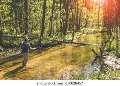 Fishing with tenkara on a small creek. Flyfishing.