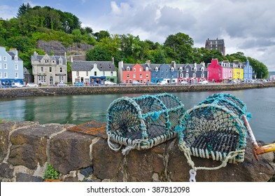 Fishing traps on a wall in summertime in the town of Tobermory on the isle of Mull in the inner Hebrides.