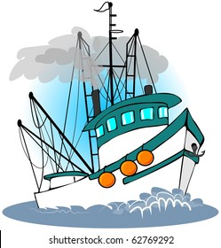 cartoon fishing boat images stock photos vectors shutterstock rh shutterstock com cartoon fishing boat clipart Fishing Boat Graphics