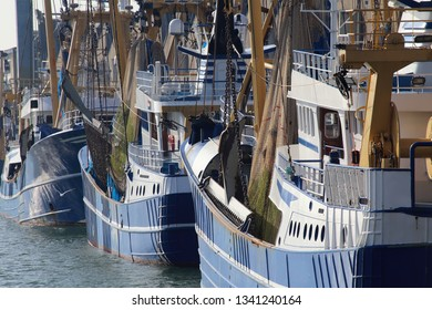 Fishing trawlers and fish warehouses in the harbor of Scheveningen, Holland