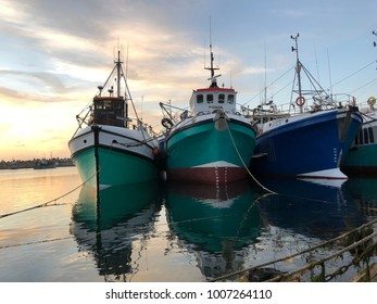 Fishing Trawlers stationed at harbor in South Africa