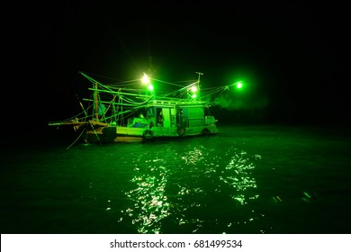 Fishing vessels are catching squid at night.