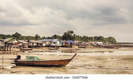 fishing village, Andaman Sea Shore in Thailand