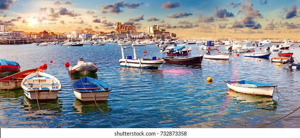 Fishing village and Boat dock. Scenic seascape. Tourism in coastal towns of Spain.Castro Urdiales.Cantabria.