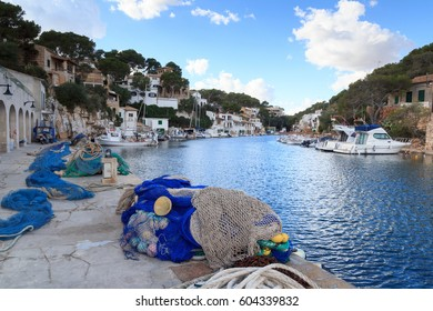 Fishing village Cala Figuera port and Mediterranean Sea, Majorca, Spain