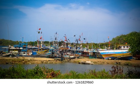 A fishing village and its dockyard for boats in Trincomalee, Sri Lanka. Fishing harbor.