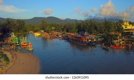 The fishing village and ferry of Thong Sala at sunset time, popular tourist destination on the island of koh Phangan,Thailand