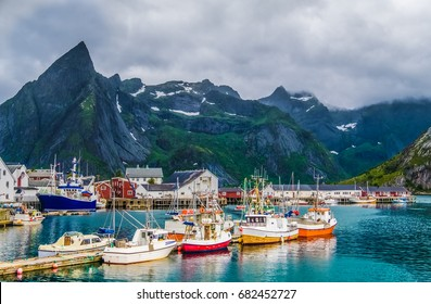 The fishing village of Hamnoy, Reinefjord, Lofoten Islands, an archipelago and a traditional district in the county of Nordland, Norway. Located north of the Arctic Circle.