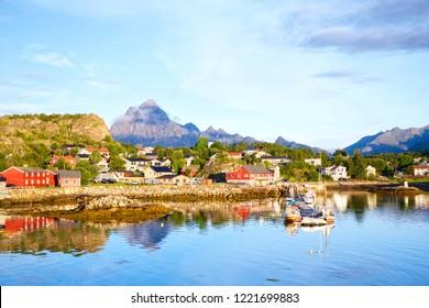 Fishing village Kabelvag at morning in Lofoten, Norway