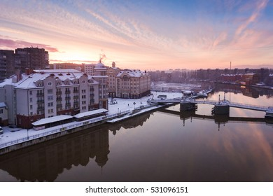 The Fishing Village in Kaliningrad in the early morning in winter, view from above