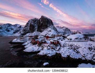 Fishing village Lofoten Islands at sunset
