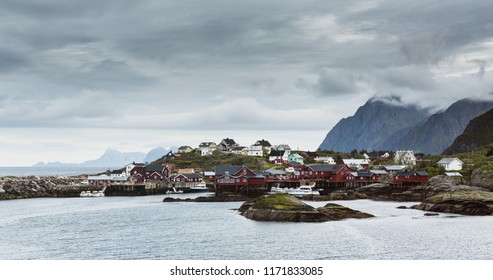 The fishing village of A i Lofoten on the Lofoten Islands, Norway on a cloudy summer day.