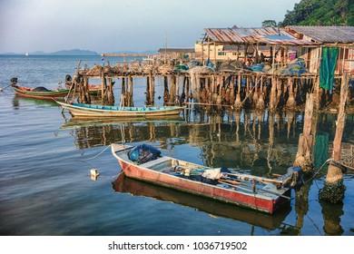 Fishing village long tail boat,wood house, Baan boka,Sawi,Chumphon,Thailand