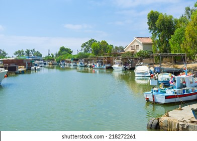The fishing village with many moored boats, always ready for trips, Liopetri, Cyprus.