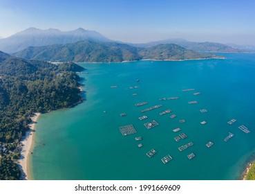 Fishing village near Hei Ling Chau, Lantau Island, Hong Kong, aerial view, outdoor, daytime