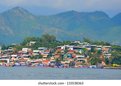A fishing village in Nha Trang city. Nha Trang is a central city of Vietnam, famous with beautiful beaches and bays.