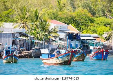 A fishing village on the island of Hon Mieu in Nha Trang, Vietnam