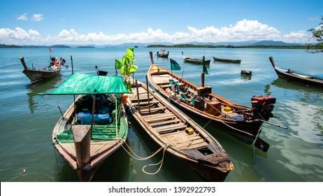 Fishingboat in the blue sea