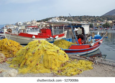 Fishing-boats in the harbour of Elounda which is a small fishing town on the northern coast of the island of Crete, Greece