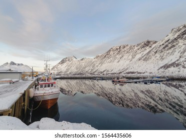 Fishingboats at the harbour, Troms County, Norway