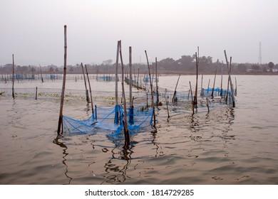fishingnet pattern and reflection at odisha india