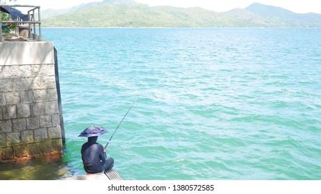 A fishman fishing in Hong Kong(Sai Kung, Wan Tsai)
