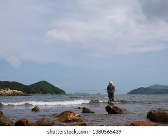 A fishman fishing in Hong Kong(Sharp Island)