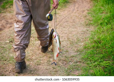 A fishman going away with rod and fresh fish