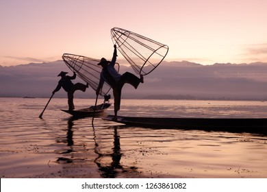 The fishman perfomance on Inle lake,Myanmar.