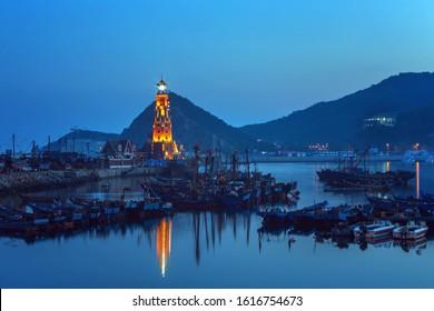 Fishman's Wharf in Dalian, China, long exposure
