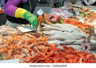 Fishmonger selling fish and seafood in the market of Barcelona, Spain