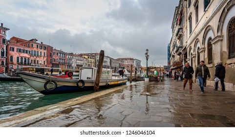 Fishmonger's boat on flooded Grand Canal in Venice, Italy on 26 November 2018