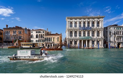 Fishmongers boat on the Grand Canal in Venice, Italy on 27 November 2018