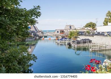 Fishtown and Carp river in Leland, Michigan