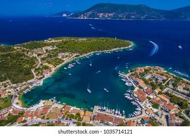 Fiskardo village , bay and port from a drone in Kefalonia island, Greece