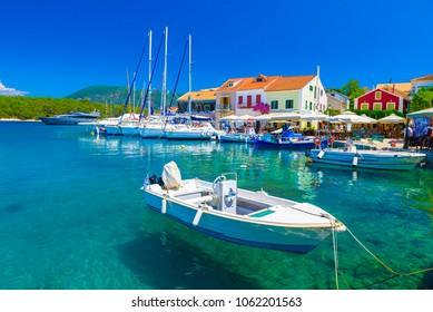 Fiskardo village and harbor on Kefalonia Ionian island, Greece.