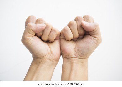 Fist both hand, playing left or right quest games, or person get caught without any physical boundary. Freedom concept.