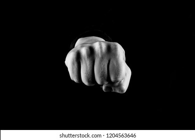 Fist bump, Man giving a fist bump, Black and white, centered