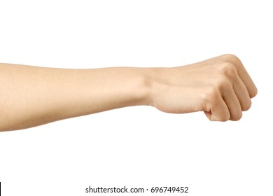 Fist caucasian woman's hand gesture isolated over white