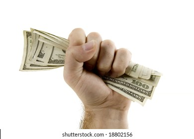 Fist full of hundred dollar bills in United States Currency, isolated on a white background