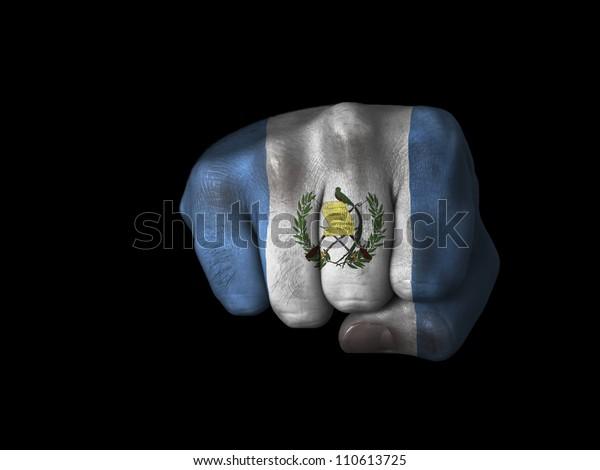 Fist of Guatemala - Flag of Guatemala painted on closed fist